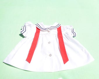 vintage bryan made in united states baby girls nautical sailor dress size 0-3 months see measurements white