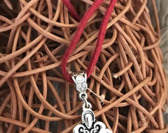Red howlite silver heart pendant on suede necklace
