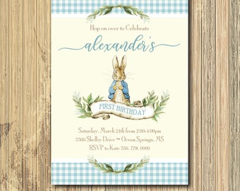 Peter Rabbit Boy Birthday Invitation printable/Digital File/Vintage Peter Rabbit, Some Bunny, first birthday/Wording & colors can be changed