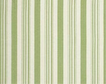 Tanya Whelan Fabric - Barefoot Roses, Legacy Collection, Ticking in Green, Stripe - FAT QUARTER