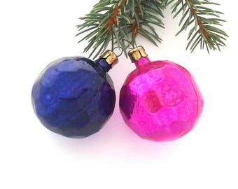 Set of 2 Vintage soviet glass Christmas tree decorations / Xmas ornaments / Made in USSR, 1950s