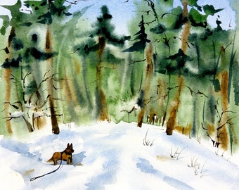 Watercolor Winter landscape Dog Painting wall decor  Painting Forest Winter original watercolor