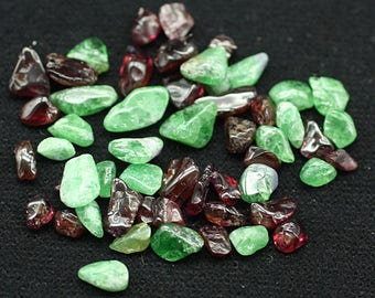 ONE Bag of gem mixed red-green Garnet polished nuggets - Mineral Specimens/Gemstones for Sale