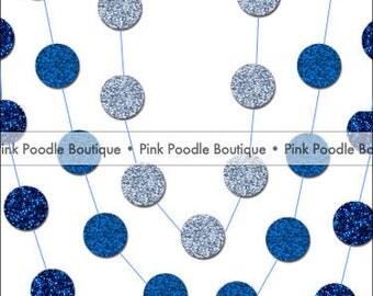 20' Glitter CONFETTI GARLAND -- Royal Blue