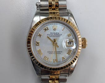 Rolex Stainless Steel and 18K Yellow Gold Oyster Perpetual with Mother of Pearl Dial, Reference #79173
