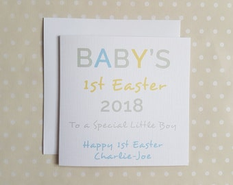 Baby's 1st Easter Card.  Personalised First Easter card for a New Baby Boy, Son, New Born, Little Boy, God Son, Grandson, Little Brother