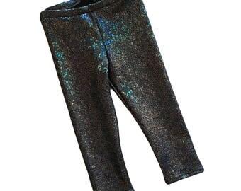 Unicorn leggings- Shadowcorn leggings- baby girl leggings- toddler leggings- kids leggings- metallic, sparkly holographic leggings- black