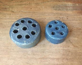 """Pair Rare Early Bauer Pottery Stoneware Blue Glaze Flower Frogs 2 1/2"""" and 3 1/4"""""""