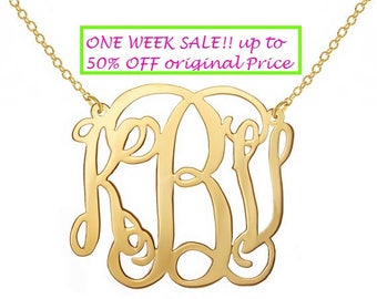 Personalized Monogram Necklace 1 inch 18k Gold plated Any initial Monogram made with 925 silver