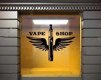 Wall Window Decal Sticker Vape Shop Vaping Vape Store Logo 1857t