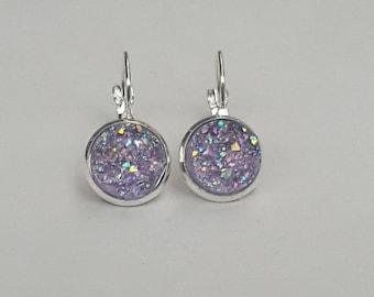 Mauve Druzy French Lever Back Threader Earrings, Druzy Earrings, Druzy Jewelry, Mauve Jewelry, Mauve Earrings, Mauve Gift for Her, Glitter