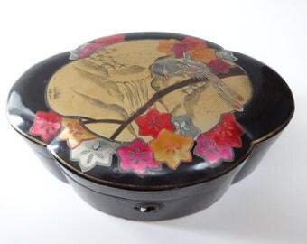 Oriental Box, Black Box, Oriental Decor, Trinket Box, Jewelry Box, Black Trinket Box, Black Jewelry Box, Decorative Box, Black Lacquer Box
