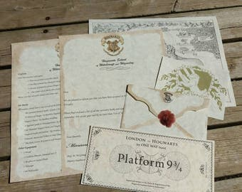 Parchment Hogwarts Acceptance letters with house crest, Hogwarts map and Platform 9 3/4 ticket