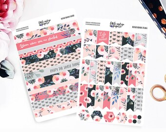 Blush Blooms Planner Stickers for Erin Condren Vertical, Planner Stickers, Filofax, KikkiK, Happy Planner, Travelers Notebook
