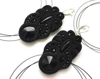 Black Earrings, Gothic Earrings, Long Dangle Earrings, Elegant Gift For Woman, Chandelier Earrings, Fashion Earrings, Soutache Pendientes