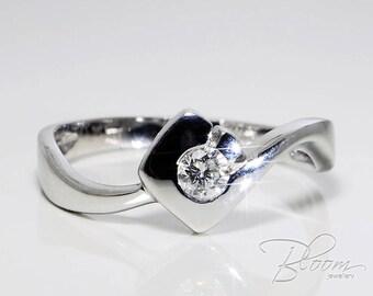 Unique Promise Ring 18K White Gold Ring Diamond Promise Ring Gold Promise Ring Low Profile Engagement Ring BloomDiamonds
