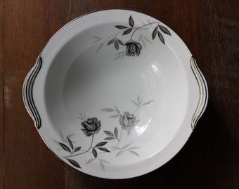"Vintage Noritake Rosamor 10"" Round Vegetable Bowl c50s-70 Grey Roses Platinum"