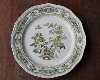 Vintage Mason's Manchu Green Multicolor Ironstone Dinner Plate Made in England