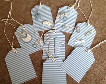 Set of 8 tags tags baby boy on blue stripes.