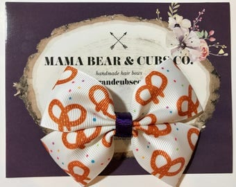 pretzel bow, soft pretzel bows, snacks bow, pretzel party, hair bows, hair clips, girls hair bows, hair bows for girls, boutique bows