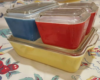 Vintage Pyrex refrigerator dishes Complete set Primary color Pyrex 501 - 503
