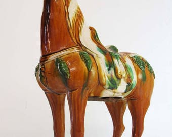A Chinese 15.2-inch Tang Style Sancai 3 Color Porcelain Pottery Horse Statue orange green