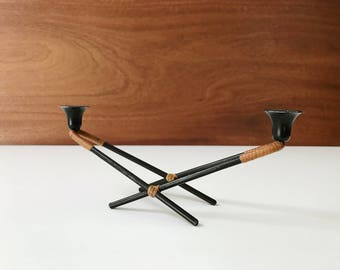 Danish Modern rattan-wrapped iron candleholder