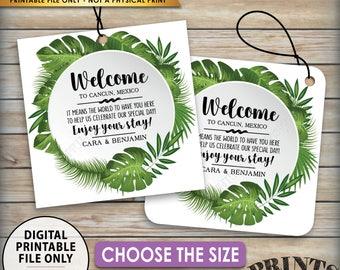 "Wedding Tags, Tropical Wedding Destination Wedding Hotel Bag Labels Beach Wedding Welcome Bag Tags, Choose Tag Size, 8.5x11"" PRINTABLE Sheet"