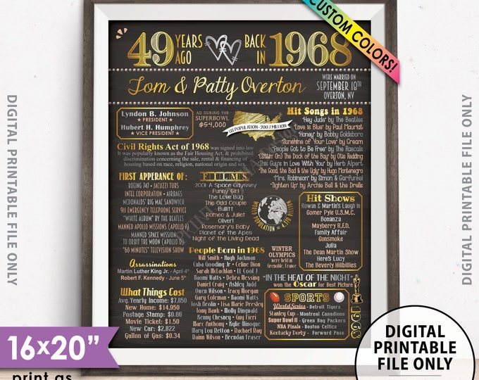 """49th Anniversary Gift, Married in 1968 Anniversary Poster, Flashback to 1968 49 Years Ago Chalkboard Style PRINTABLE 8x10/16x20"""" 1968 Poster"""
