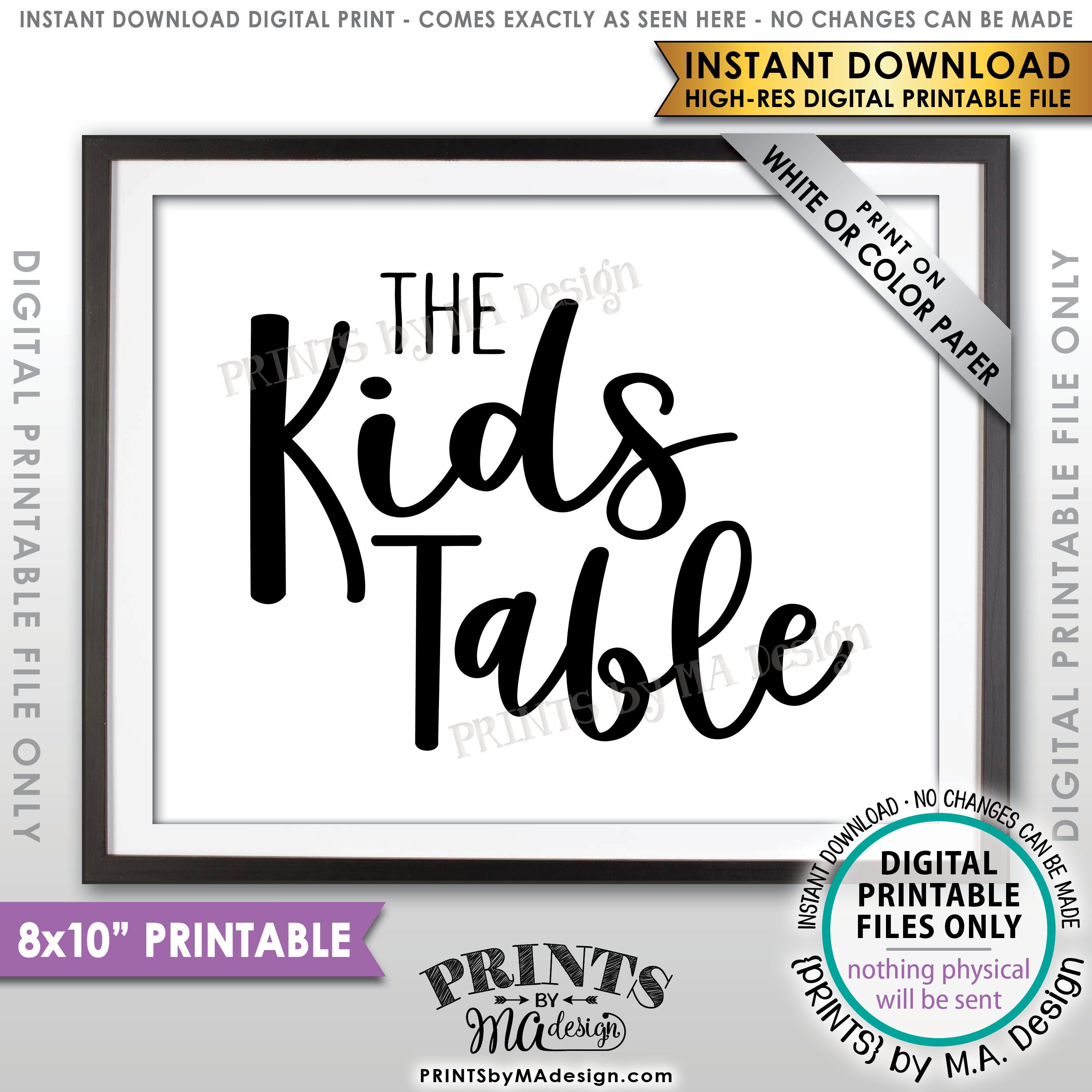 Wedding Kids Table Sign Reception Activities For Kids Table Sign