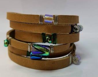 Leather wrap Dicro beads bracelet