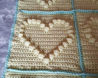 Handmade crochet baby blanket 60% virgin wool lemon green pram cot car heart yellow mint boy girl unisex