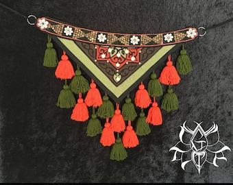 Small to medium sized ATS/ITS Tassel Belt with pocket & removable 100% virgin wool tassels, Tribal belly dance belt, ATS tassel belt