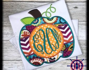 Pumpkin Monogram Applique Shirt, Fall Applique Shirt, Thanksgiving Applique Shirt