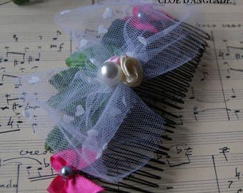 Large romantic pink and green hair comb with tulle