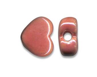 1 heart ceramic Greek 12 x 10 mm salmon