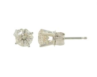 Ladies Classic Estate 14K White Gold Diamond Solitaire Stud Earrings - 1.00CTW