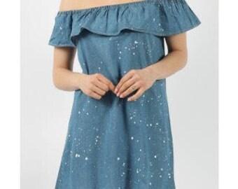 Chambray Spash Bordot Frill Dress
