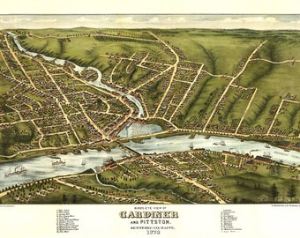 Gardiner Maine Panoramic Map dated 1878. This print is a wonderful wall decoration for Den, Office, Man Cave or any wall.