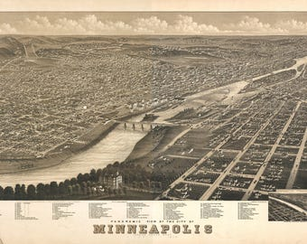 Minneapolis Minn. Panoramic Map dated 1876. This print is a wonderful wall decoration for Den, Office, Man Cave or any wall.