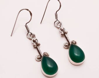 925 Solid Sterling Silver GREEN ONYX Earring
