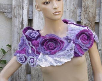 Crochet Scarf  Roses Capelet Neck Warmer Freeform crochet shadows Purple Gray White  Womens scarf, Freeform Crochet scarf/gift For her