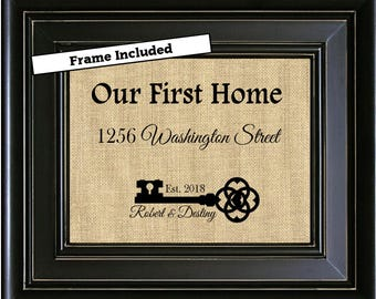 FRAMED Personalized House Warming Gift Skeleton Key Our First Home Burlap Print Personalized Address Sign New House Gift New Homeowner