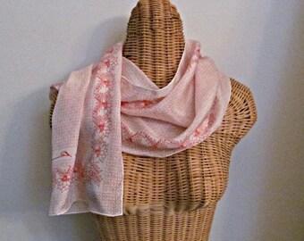 Pretty Silk Scarf, Designer Anne Klein, Floral Border, Bonwit Teller