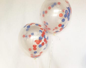 Red White Blue Confetti Balloons 4th of July Balloons Fourth of July Party Military Balloons 4th of July Party Confetti Balloons BBQ decor