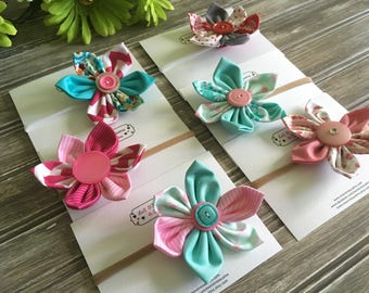 Flower hair on nylon headband, fabric flower. Choice of colors. Hair accessory for girls, size newborn to adult.