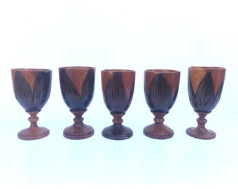 Small Wood Cups -- Wood Chalice -- Wooden Goblet Glasses -- Wooden Chalices -- Goblet Glasses Wood -- Wooden Glasses -- Small Wood Chalice