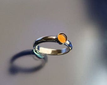 Citrine Ring band Stacking Ring Sterling Silver