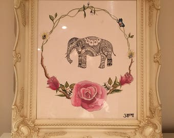 Framed original 'Floral Elephant' illustration with watercolour flowers.