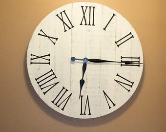 "Farmhouse Decor Clock, 24"" Large Rustic Clock, Handmade Wall Clock, Wall Clock Large, Rustic Wall Clock, Wooden Wall Clocks, Home Decor"